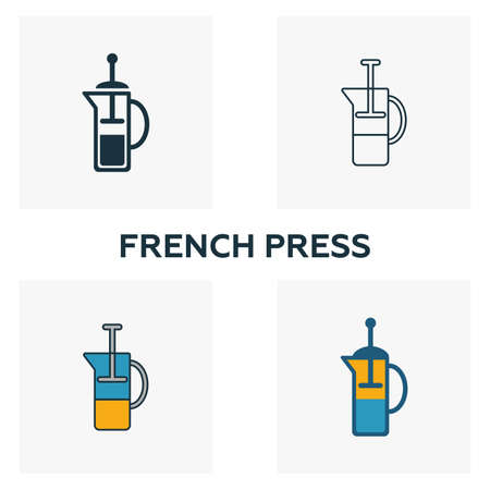 French Press icon. Thin line symbol design from coffe shop icon collection. UI and UX. Creative simple french press icon for web and mobile