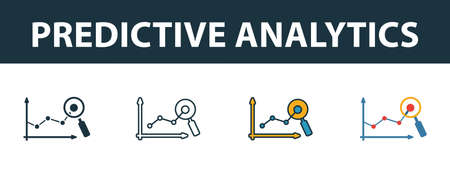 Predictive Analytics icon set. Premium symbol in diferent styles from crm icons collection. Creative predictive analytics icon filled, outline, colored and flat symbols