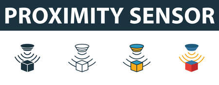 Proximity Sensor icon set. Premium symbol in different styles from sensors icons collection. Creative proximity sensor icon filled, outline, colored and flat symbols