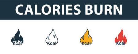 Insieme dell'icona di bruciare calorie. Simbolo premium in diversi stili dalla collezione di icone di fitness. Icona brucia calorie creativa riempita, contorno, simboli colorati e piatti
