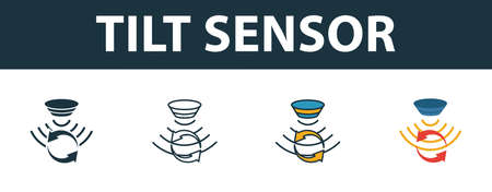 Tilt Sensor icon set. Premium symbol in different styles from sensors icons collection. Creative tilt sensor icon filled, outline, colored and flat symbols