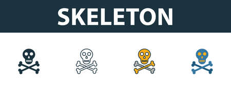 Skeleton icon set. Premium simple element in different styles from halloween icons collection. Set of skeleton icon in filled, outline, colored and flat symbols concept. Ilustracja