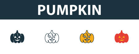 Pumpkin icon set. Premium simple element in different styles from halloween icons collection. Set of pumpkin icon in filled, outline, colored and flat symbols concept.