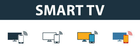 Smart Tv icon set. Premium symbol in different styles from smart devices icons collection. Creative smart tv icon filled, outline, colored and flat symbols