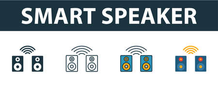 Smart Speaker icon set. Premium symbol in different styles from smart devices icons collection. Creative smart speaker icon filled, outline, colored and flat symbols