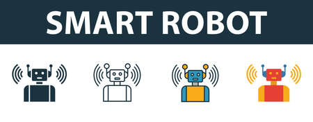Smart Robot icon set. Premium symbol in different styles from smart devices icons collection. Creative smart robot icon filled, outline, colored and flat symbols