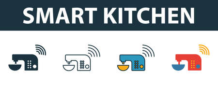 Smart Kitchen icon set. Premium symbol in different styles from smart devices icons collection. Creative smart kitchen icon filled, outline, colored and flat symbols Ilustração