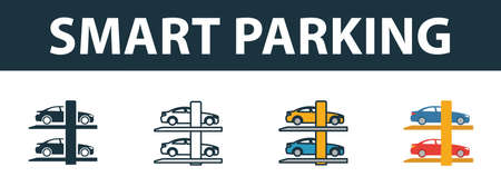 Smart Parking icon set. Premium symbol in different styles from smart devices icons collection. Creative smart parking icon filled, outline, colored and flat symbols