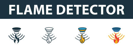 Flame Detector icon set. Premium symbol in different styles from sensors icons collection. Creative flame detector icon filled, outline, colored and flat symbols Ilustração