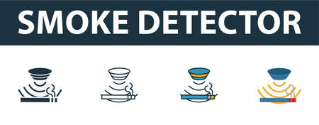 Smoke Detector icon set. Premium symbol in different styles from sensors icons collection. Creative smoke detector icon filled, outline, colored and flat symbols