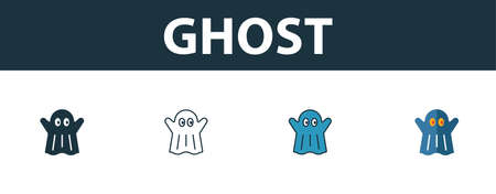 Ghost icon set. Premium symbol in different styles from halloween icons collection. Creative ghost icon filled, outline, colored and flat symbols