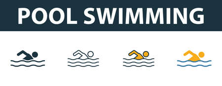 Pool Swimming icon set. Premium symbol in different styles from fitness icons collection. Creative pool swimming icon filled, outline, colored and flat symbols Ilustração