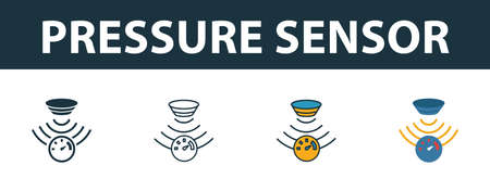 Pressure Sensor icon set. Premium symbol in different styles from sensors icons collection. Creative pressure sensor icon filled, outline, colored and flat symbols Ilustracja