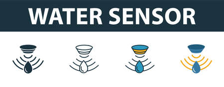 Water Sensor icon set. Premium symbol in different styles from sensors icons collection. Creative water sensor icon filled, outline, colored and flat symbols 向量圖像