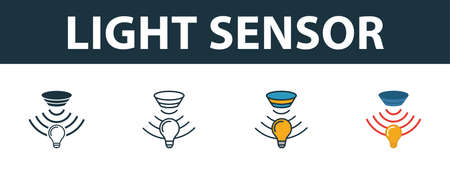 Light Sensor icon set. Premium symbol in different styles from sensors icons collection. Creative light sensor icon filled, outline, colored and flat symbols