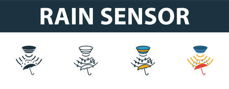 Rain Sensor icon set. Premium symbol in different styles from sensors icons collection. Creative rain sensor icon filled, outline, colored and flat symbols 向量圖像