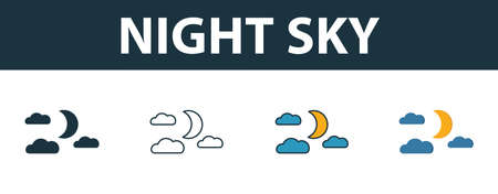 Night Sky icon set. Premium symbol in different styles from halloween icons collection. Creative night sky icon filled, outline, colored and flat symbols