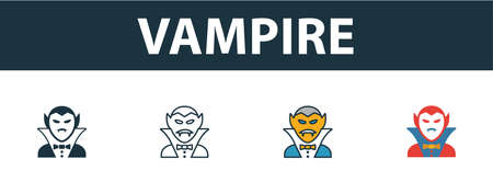 Vampire icon set. Premium symbol in different styles from halloween icons collection. Creative vampire icon filled, outline, colored and flat symbols
