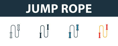 Jump Rope icon set. Premium simple element in different styles from fitness icons collection. Set of jump rope icon in filled, outline, colored and flat symbols concept.