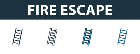 Fire Escape icon set. Premium simple element in different styles from fire safety icons collection. Set of fire escape icon in filled, outline, colored and flat symbols concept.