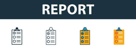 Report icon set. Premium simple element in different styles from fire safety icons collection. Set of report icon in filled, outline, colored and flat symbols concept. Ilustrace