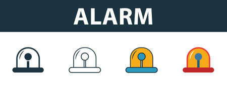 Alarm icon set. Premium simple element in different styles from fire safety icons collection. Set of alarm icon in filled, outline, colored and flat symbols concept.