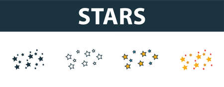 Stars icon set. Four elements in diferent styles from space icons collection. Creative stars icons filled, outline, colored and flat symbols.