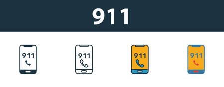 911 icon set. Premium simple element in different styles from fire safety icons collection. Set of 911 icon in filled, outline, colored and flat symbols concept.