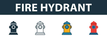 Fire Hydrant icon set. Premium simple element in different styles from fire safety icons collection. Set of fire hydrant icon in filled, outline, colored and flat symbols concept.