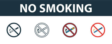 No Smoking icon set. Premium simple element in different styles from fire safety icons collection. Set of no smoking icon in filled, outline, colored and flat symbols concept.