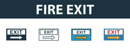 Fire Exit icon set. Premium simple element in different styles from fire safety icons collection. Set of fire exit icon in filled, outline, colored and flat symbols concept.