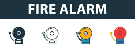 Fire Alarm icon set. Premium simple element in different styles from fire safety icons collection. Set of fire alarm icon in filled, outline, colored and flat symbols concept.