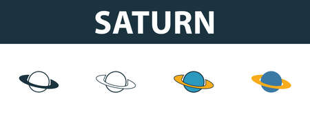 Saturn icon set. Four elements in different styles from space icons collection. Creative saturn icons filled, outline, colored and flat symbols. Ilustrace