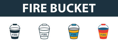 Fire Bucket icon set. Premium simple element in different styles from fire safety icons collection. Set of fire bucket icon in filled, outline, colored and flat symbols concept.