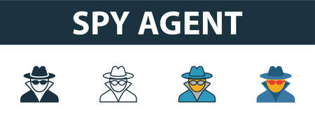 Spy Agent icon set. Premium simple element in different styles from security icons collection. Set of spy agent icon in filled, outline, colored and flat symbols concept. Stock Illustratie