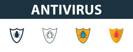 Antivirus icon set. Premium simple element in different styles from security icons collection. Set of antivirus icon in filled, outline, colored and flat symbols concept.