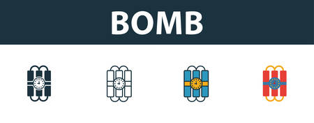 Bomb icon set. Premium simple element in different styles from security icons collection. Set of bomb icon in filled, outline, colored and flat symbols concept.