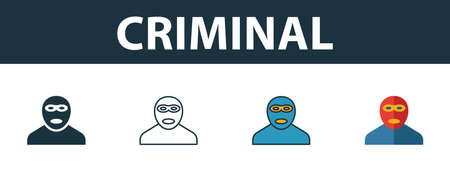 Criminal icon set. Premium simple element in different styles from security icons collection. Set of criminal icon in filled, outline, colored and flat symbols concept.