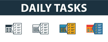 Daily Tasks icon set. Premium simple element in different styles from productivity icons collection. Set of daily tasks icon in filled, outline, colored and flat symbols concept. Illustration