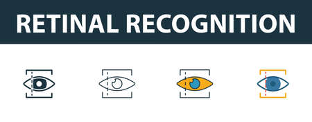 Retinal Recognition icon set. Premium simple element in different styles from security icons collection. Set of retinal recognition icon in filled, outline, colored and flat symbols concept. Иллюстрация