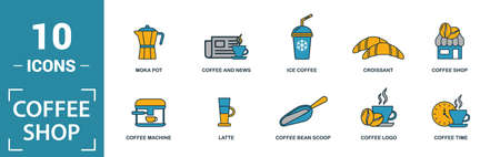Coffe Shop icon set. Include creative elements coffee beans, cappuccino, coffee machine, coffee to go, ice coffee icons. Can be used for report, presentation, diagram, web design. Ilustracja