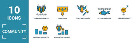 Community icon set. Include creative elements family, gender equality, infrastructure, life under water, peace and justice icons. Can be used for report, presentation, diagram, web design.