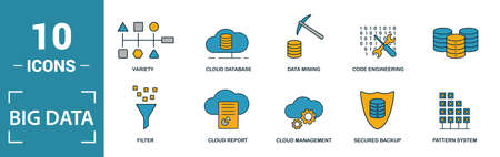Big Data icon set. Include creative elements cloud hosting, cloud management, data science, pattern system, ambiguity icons. Can be used for report, presentation, diagram, web design.