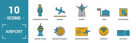 Airport icon set. Include creative elements takeoff, around the world, airport tower, airplane seat, taxi icons. Can be used for report, presentation, diagram, web design. Ilustração