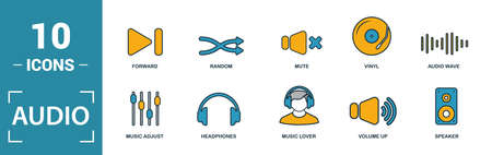 Audio Buttons icon set. Include creative elements play, pause, on off, volume down, repeat icons. Can be used for report, presentation, diagram, web design.