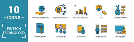 Fintech Technology icon set. Include creative elements basic income, bitcoin technology, online loan, kyc, business model icons. Can be used for report, presentation, diagram, web design.