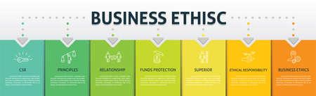 Business Ethics Infographics vector design. Timeline concept include csr, behavior, principles icons. Can be used for report, presentation, diagram, web design. Иллюстрация