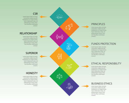 Business Ethics Infographics vector design. Timeline concept include csr, behavior, principles icons. Can be used for report, presentation, diagram, web design. Vectores