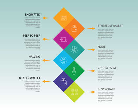 Crypto Currency Infographics vector design. Timeline concept include decentralized, digital key, encrypted icons. Can be used for report, presentation, diagram, web design. 일러스트