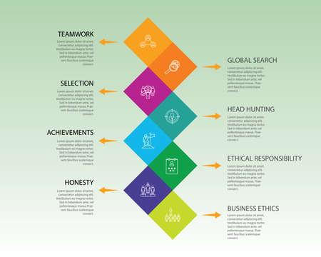 Teamwork Infographics vector design. Timeline concept include mission, brainstorm, occupation icons. Can be used for report, presentation, diagram, web design. Illustration